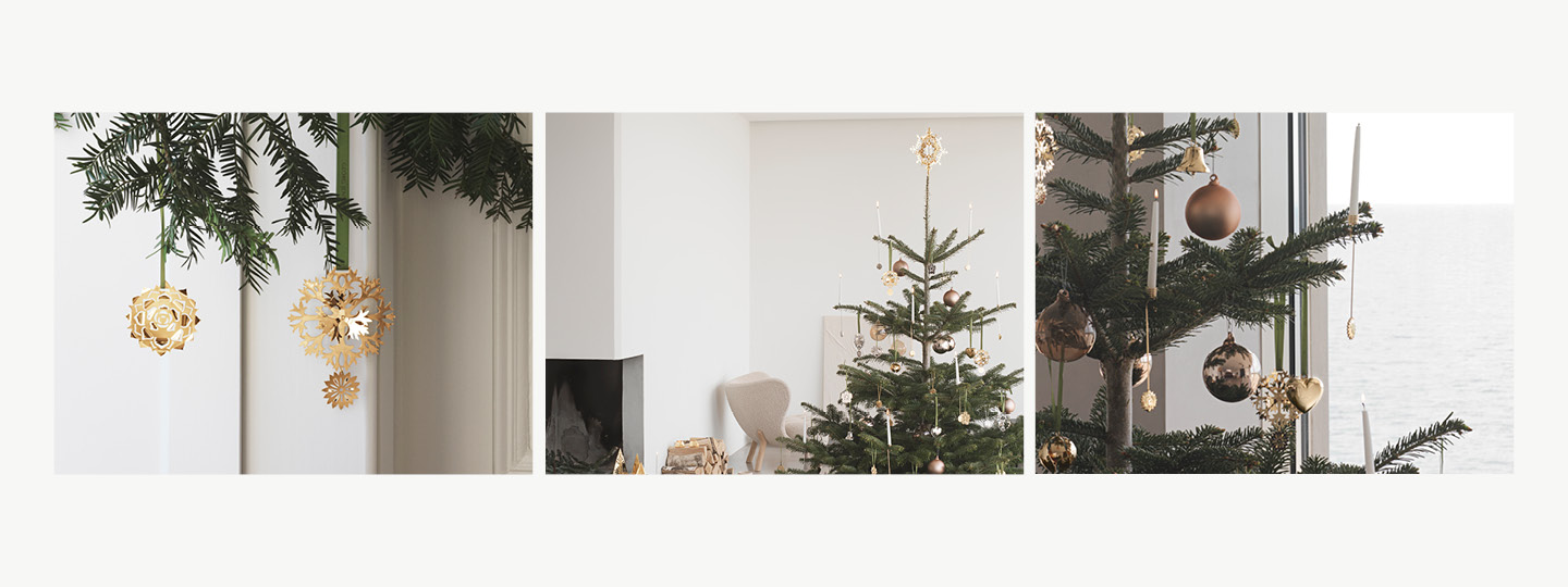 Georg Jensen's Frozen Flower Christmas Tree Decorations, Ornaments and candleholders designed by Sanne Lund Traberg