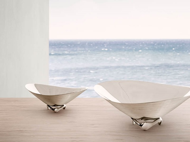 Henning Koppel wave bowls in mirror-polished stainless steel