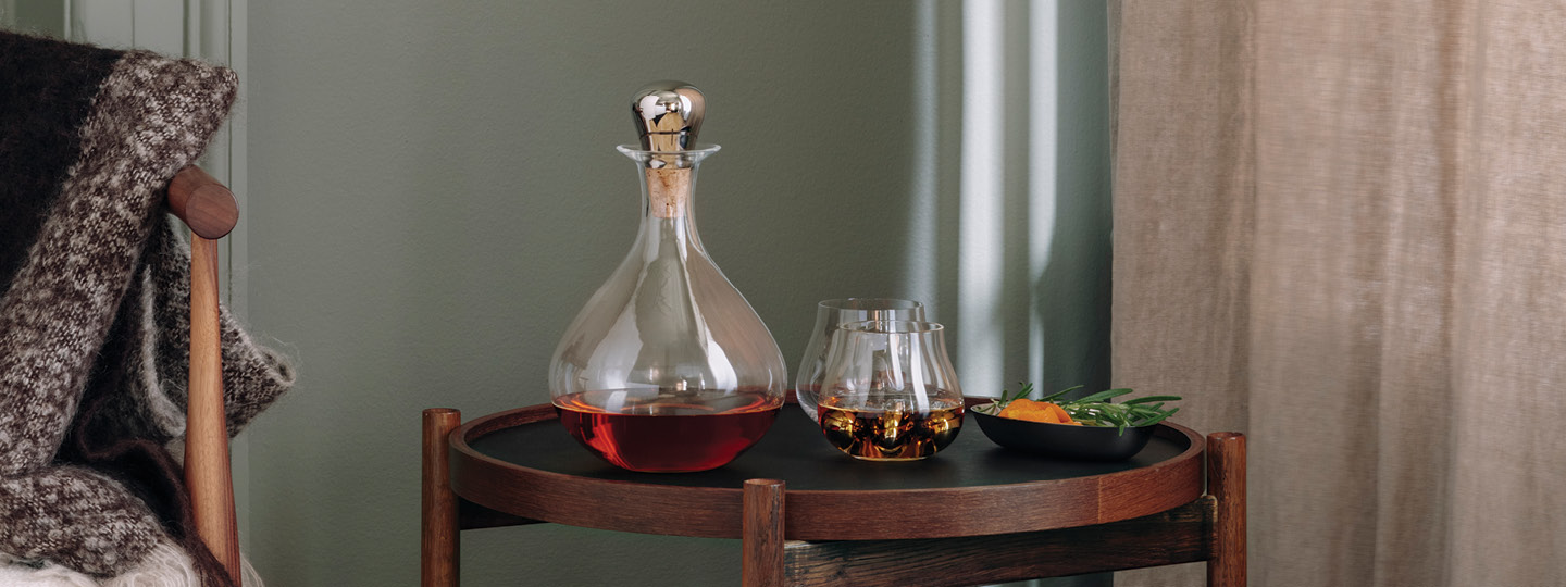 Carafe and tumblers from the Sky collection of bar accessories designed by Georg Jensen