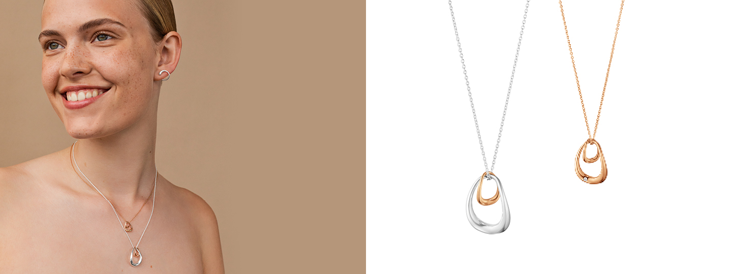 Mix of necklaces and pendants styled together by Georg Jensen
