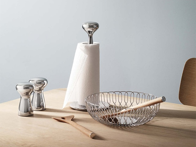 Alfredo collection from Georg Jensen containing salt & pepper set, salad servers in oak, kitchen roll holder and bowl in stainless steel