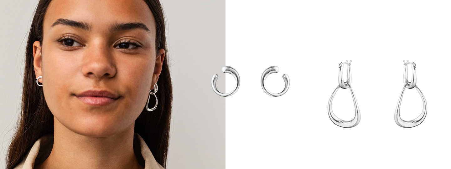 Mix of silver earrings styled together by Georg Jensen