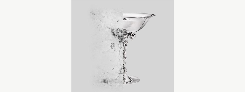 Fine Scandinavian ornament Silverware cup sketch by danish designer Georg Jensen