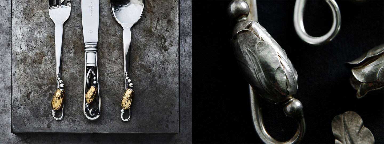 Fine Scandinavian Art Noveau Silver design with 18k gold Fine Scandinavian Art Noveau Silver design with 18k gold by Georg Jensen