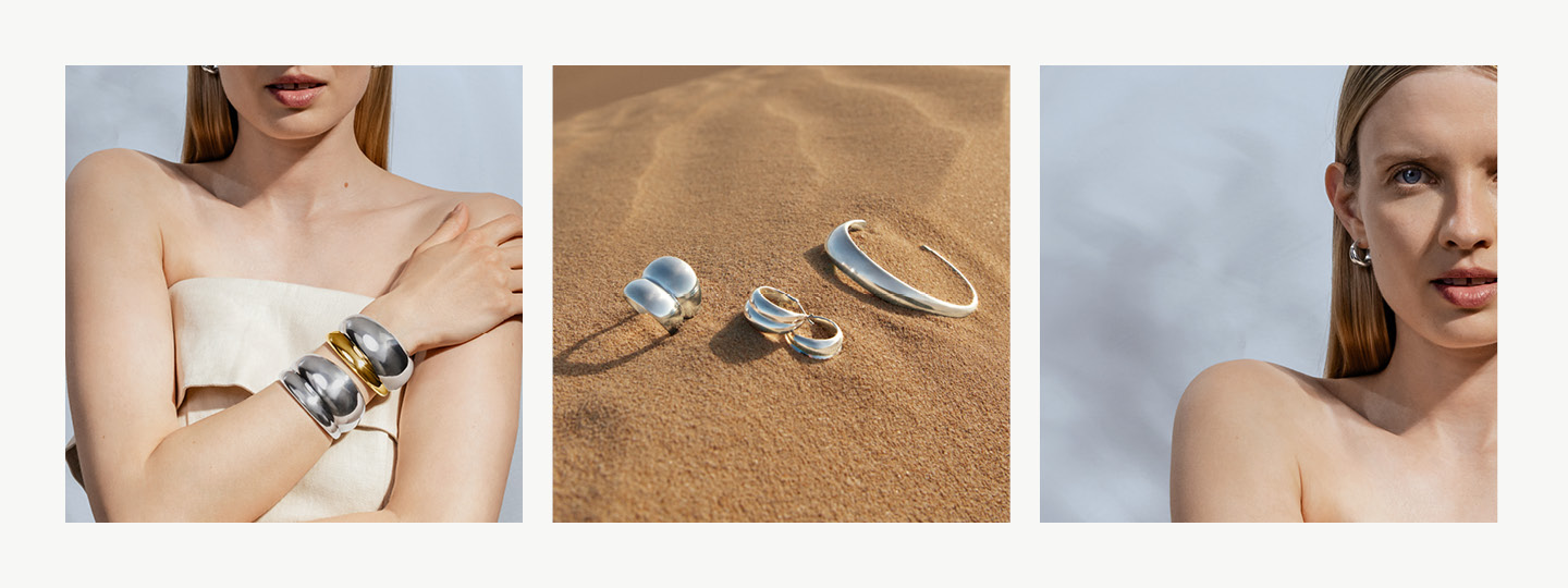 Organic Curve ring, necklace and earrings in sterling silver from Georg Jensen