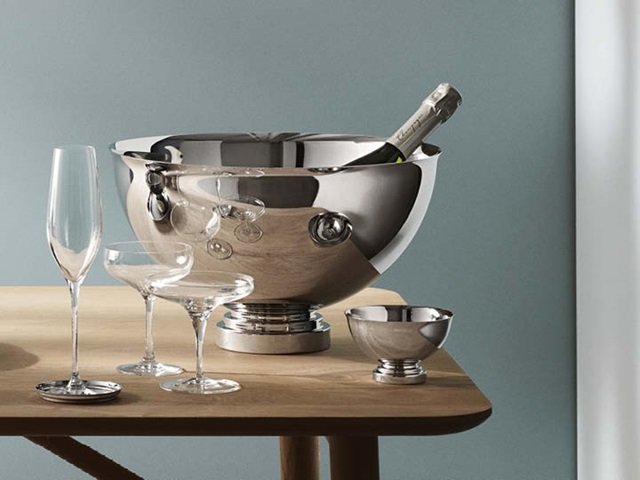 Manhattan champagne bowl and small bowl in mirror polished stainless steel