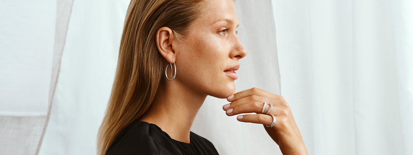 Sterling silver earhoops on model from the Offspring collection designed by Jacqueline Rabun