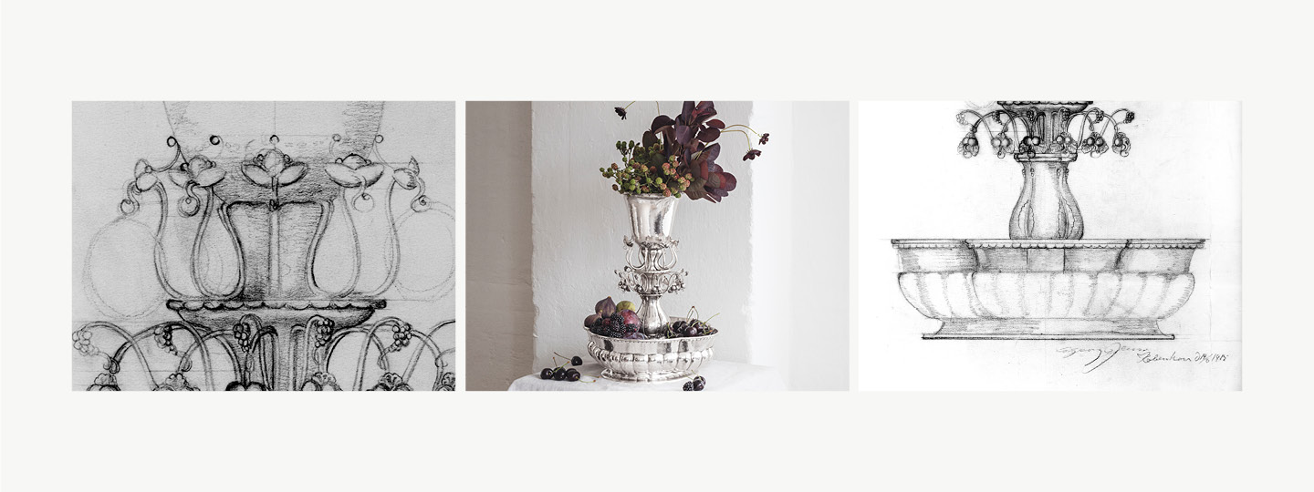Grid image of the sketch behind Jardiniere 1505 and the masterpiece it self in Sterling Silver designed by Georg Jensen