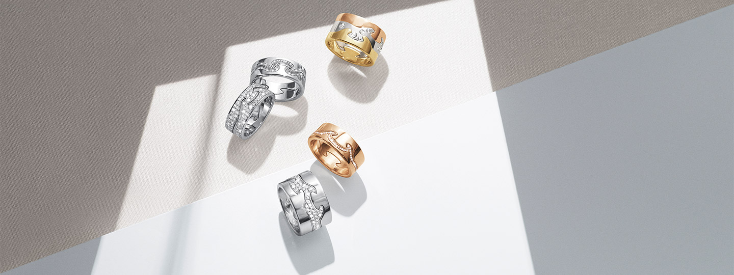 Georg Jensen Fusion rings collection in 18 kt. gold, rosegold, silver and diamonds
