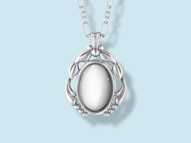 Georg Jensen Heritage collection oxidised sterling silver pendant with silver stone in Art Deco style