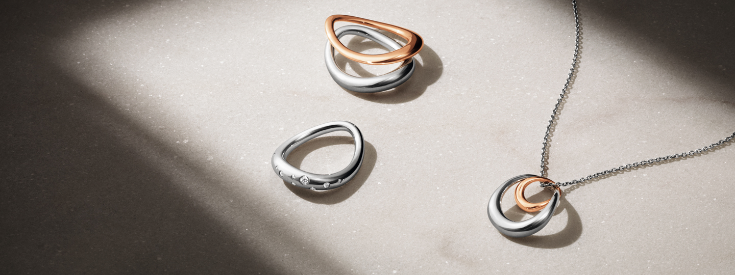 offspring rings in silver and rose gold