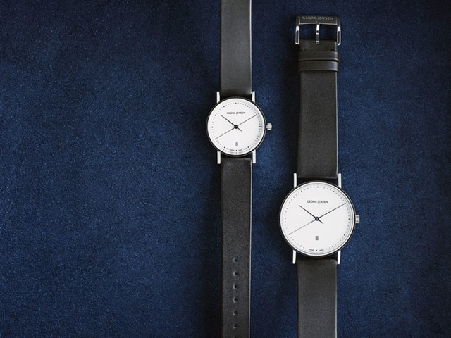 Henning Koppel watches in white dial and steel bracelet and in black leather with white dial
