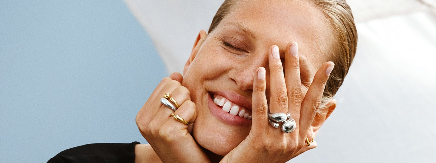 Sterling Silver and 18k gold rings from the Mercy collection designed by Jacqueline Rabun