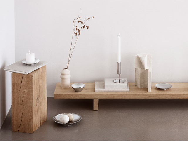 Candleholders and bowls in polished stainless steel from the Tunes collection designed by Monica Förster