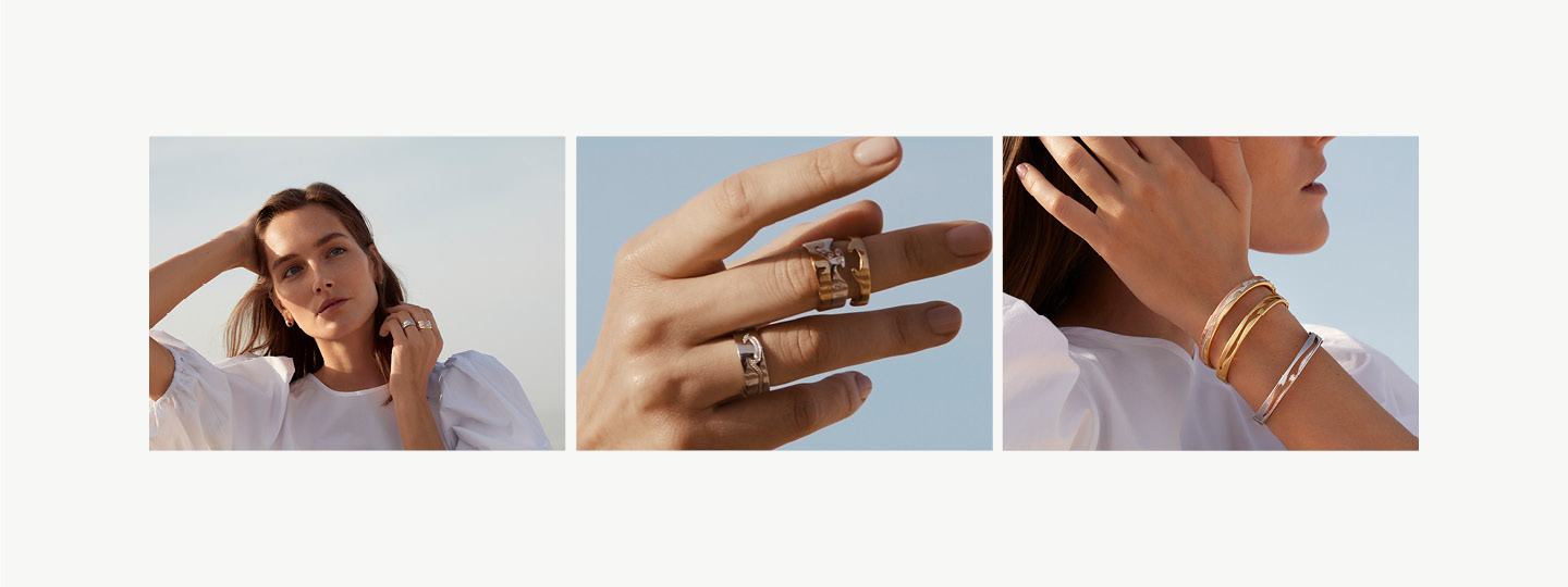 Grid image of Fusion on model rings and bangles in 18kt. gold and Sterling Silver with diamonds designed by Nina Koppel
