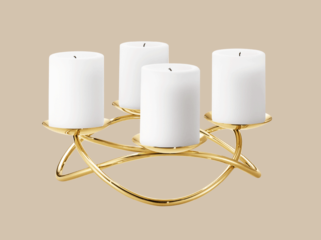 Season candle holder, gold plated and large