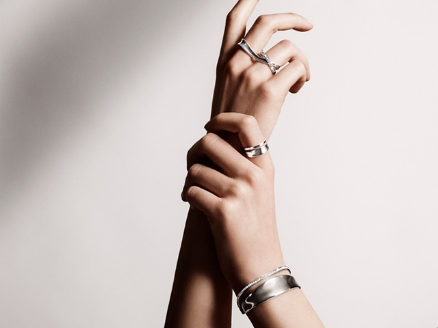 Marcia bangle and rings in sterling silver