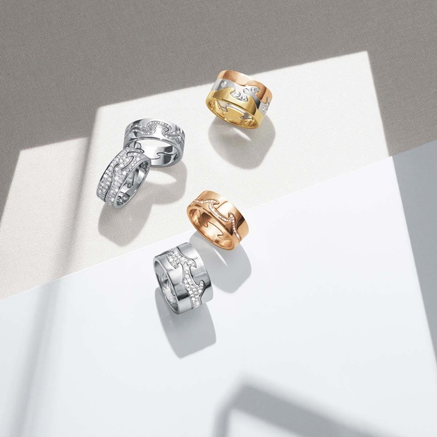 Fusion 3-piece rings in white, yellow and rose gold with brilliant cut diamonds and Fusion 2-piece rings in white and rose gold with brilliant cut diamonds