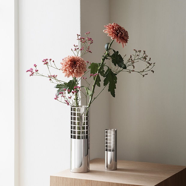 Matrix Tube Vases medium and small in mirror polished stainless steel