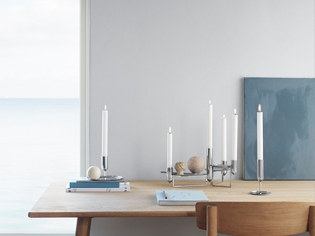 tunes centrepiece and candleholders in stainless steel