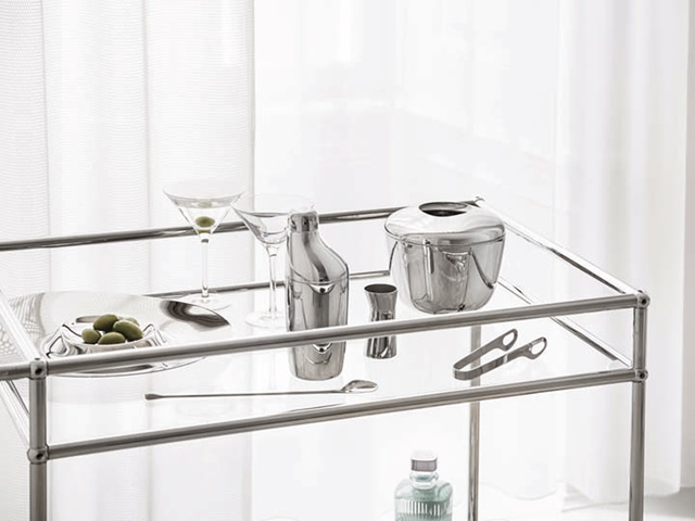 SKY cocktail shaker, stirring spoon, jigger and ice bucket with tongs (mirror-polished stainless steel)