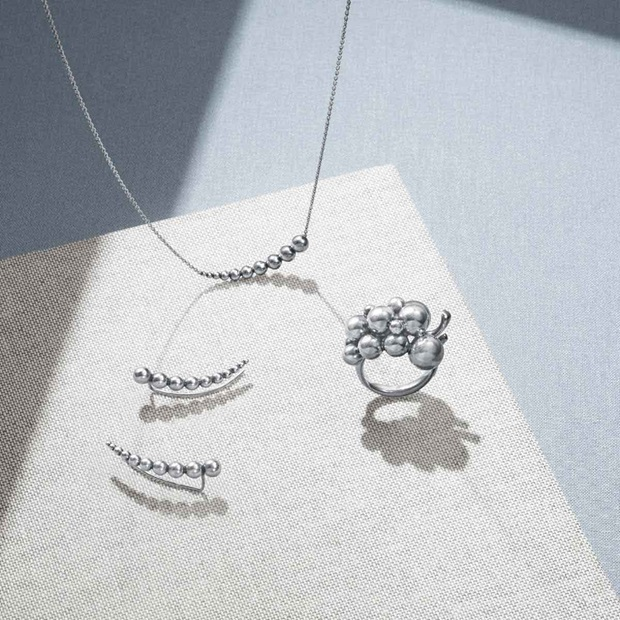 Moonlight Grapes earrings, necklace and ring in sterling silver