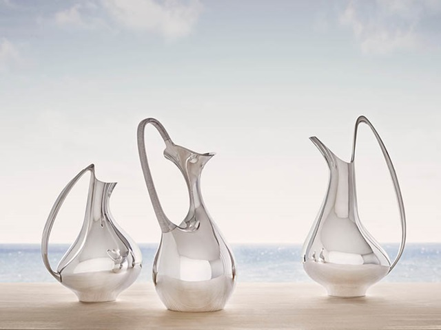 Henning Koppel's masterpieces in sterling silver: Pitcher 992, Pitcher 1052, and Pitcher 978