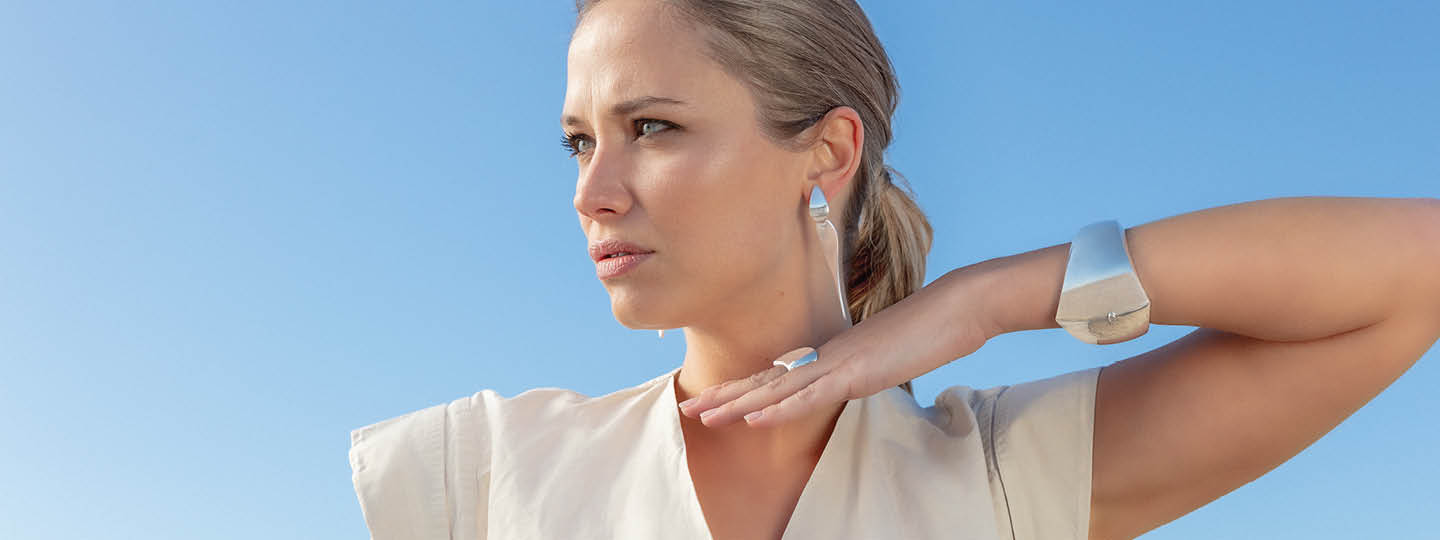 Sterling silver earrings, bracelet and ring from the Nanna Ditzel Capsule collection inspired by Nanna Ditzel