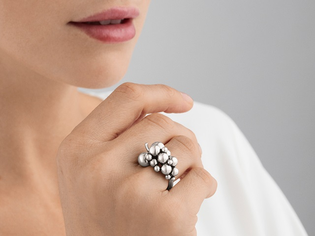 moonlight grapes ring sterling silver