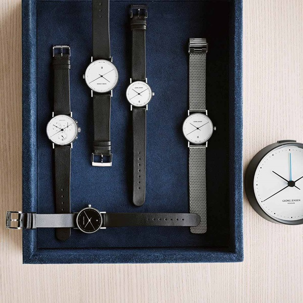 Henning Koppel watches in white dial and steel bracelet, in black leather with white dial, and in black leather with black dial