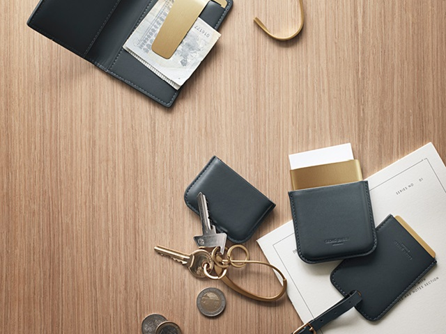 Shades Business Card Holder, Bag Hanger, Wallet, Key Ring and Travel Tag in leather and PVD plated stainless steel