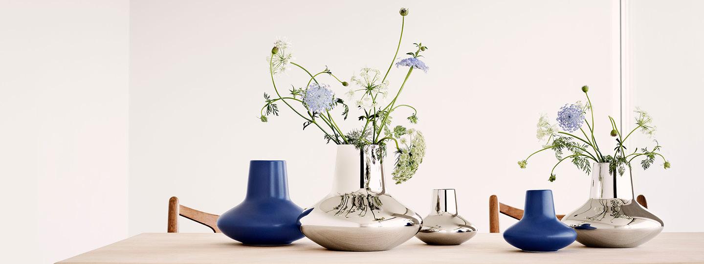 Henning Koppel vases from Georg Jensen on a table