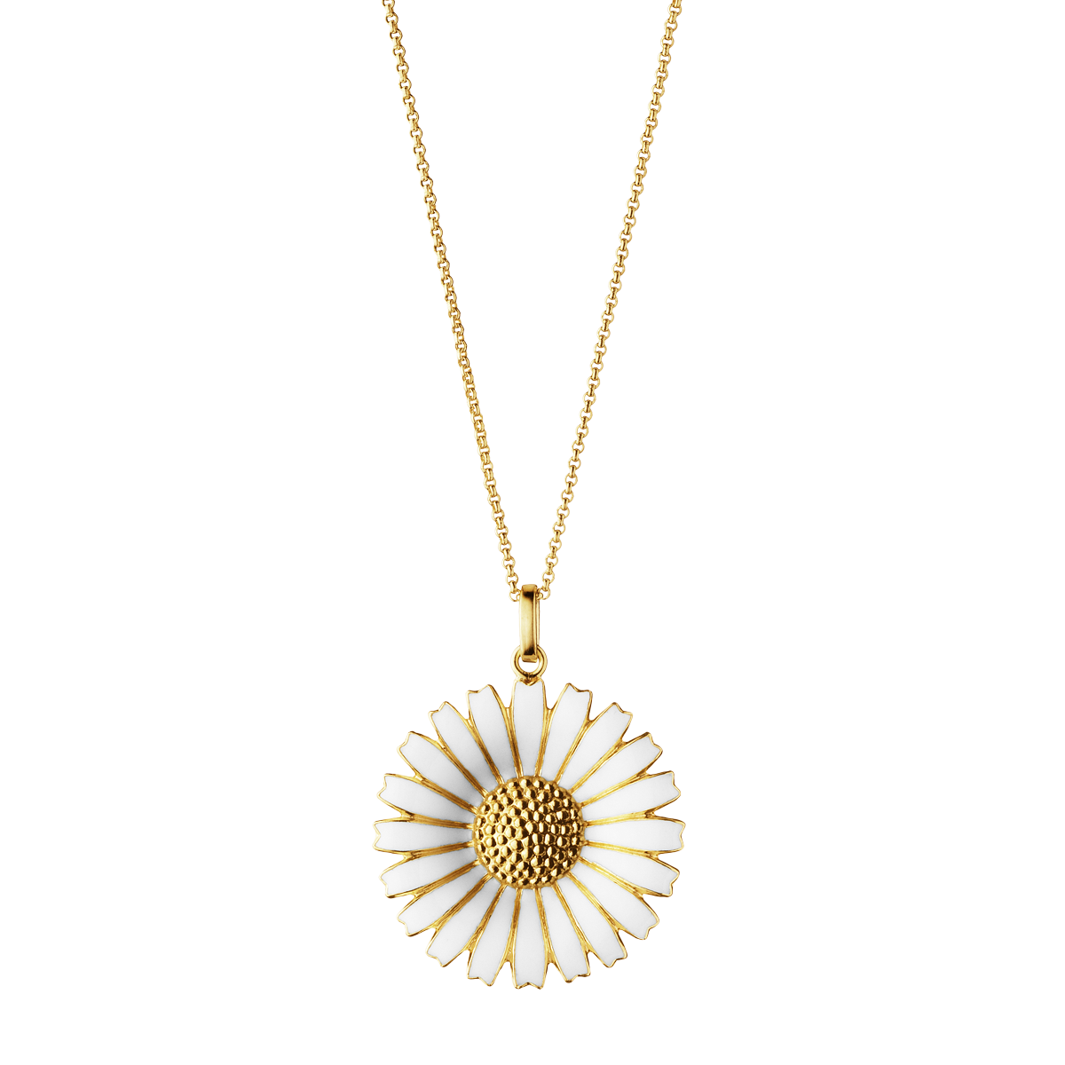 Daisy Pendant Gold Plated Sterling Silver With White