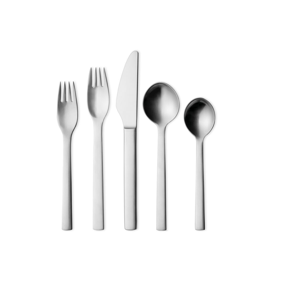 5 Pieces Mirror Polished Stainless Steel 18//8 by Harald Nielsen 1x Smaller Appetiser Fork 1x Dinner Spoon and 1x Tea Spoon 1x Long Dinner Knife Georg Jensen Pyramid Cutlery Set 1x Dinner Fork