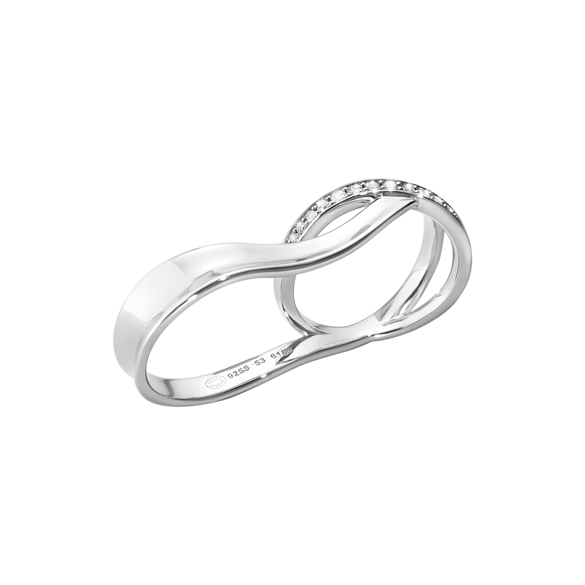 Marcia Ring Sterling Silver With Brilliant Cut Diamonds